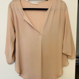LUSH long sleeve V-neck light pink blouse
